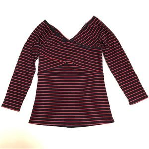 Deletta Red & Blue Ribbed Striped Sweater Top S